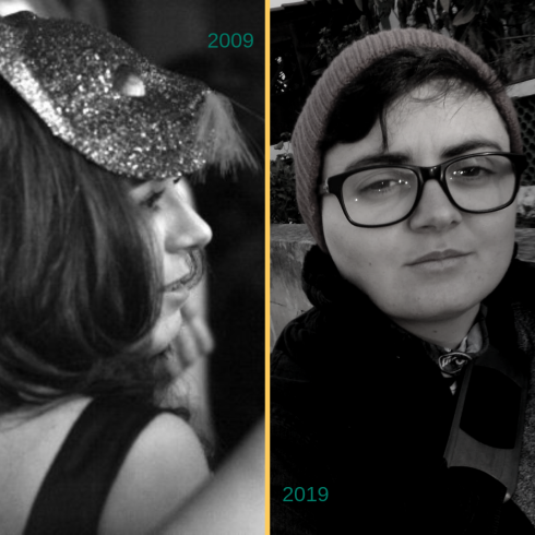 An image split vertically in half by a yellow line and showing two photos. On the left a profile shows Mina in 2009 with long hair and a glittery cat mask on their forheard. On the right Mina in 2019 looking straight at the camera, wearing a beanie, and glasses.