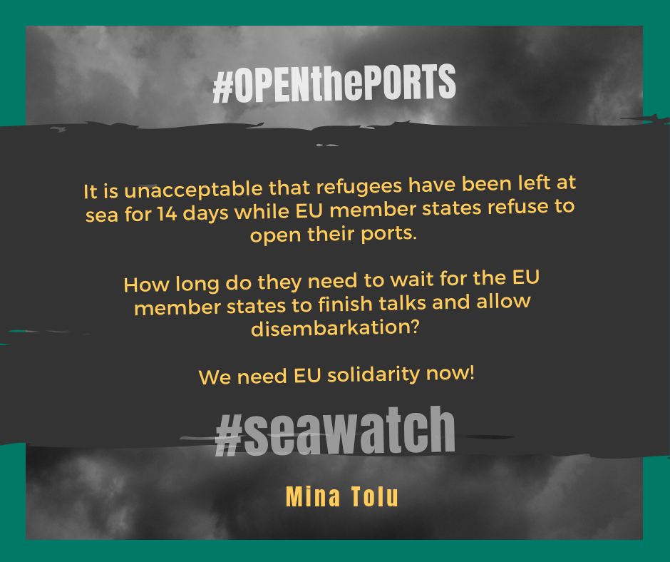 "dark cloudy background with dark gray strip on top on which is written in yellow ""it is unacceptable that refugees have been left at sea for 14 days while EU member states refuse to open their ports. How long do they need to wait for EU member states to finish talks and allow disembarkation? we need EU solidarity now!"""
